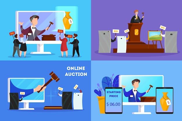 Online-auktionskonzept. aktion in auktion über gerät Premium Vektoren
