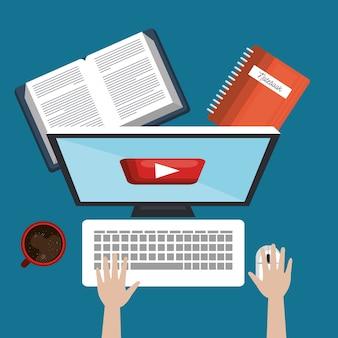 Online-ausbildung von studenten, pc-buch und tasse kaffee