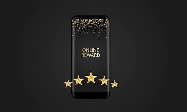Online-auszeichnung, smartphone auf schwarzem hintergrund, fünf goldene sterne