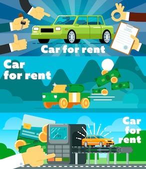 Online-autovermietungsgeschäft-fahnensatz
