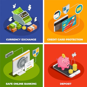 Online-banking 4 isometrische icon-set