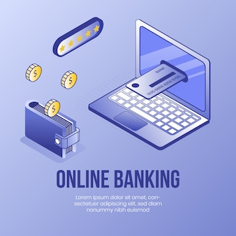 Online-banking. digital isometrische design-konzept