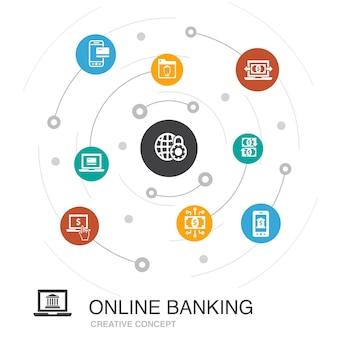 Online-banking farbiges kreiskonzept mit einfachen symbolen. enthält elemente wie geldtransfer, mobile banking, online-transaktion, erfolg mit digitalem geld