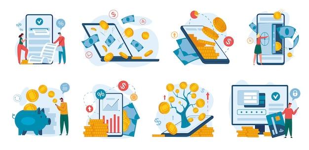 Online-banking-finanzmanagement mit telefon-laptop-internet-zahlung geldtransaktion bankeinzahlung