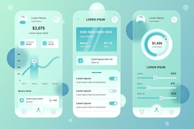 Online-banking glassmorphic design neumorphic elemente kit für mobile app ui ux gui bildschirme eingestellt