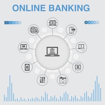 Online-banking-infografik mit symbolen. enthält symbole wie geldtransfer, mobile banking, online-transaktion, erfolg mit digitalem geld