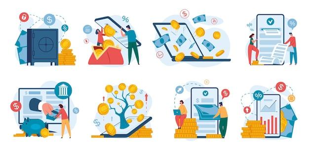 Online-banking internet-finanzgeschäfte mit smartphone digitales set für die zahlung von bankeinlagen