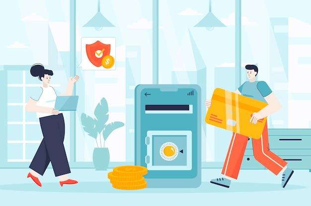 Online-banking-konzept in flacher designillustration von personenzeichen für zielseite