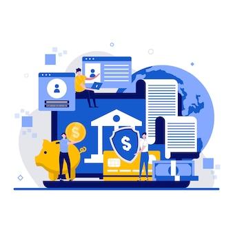 Online-banking-konzept mit charakter. elektronische bankzahlung oder kundenbetreuung zusammenfassung. internet-geldtransfers, sichere zahlung smartphone zahlungsschutz.