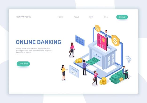 Online-banking-landingpage 3d-isometrisches finanzmanagement sichere zahlungen geldtransaktion