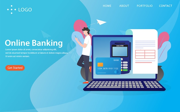 Online-banking, landingpage mit illustration konzept
