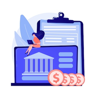 Online-banking. mann mit münzen unter verwendung der laptop-zeichentrickfigur. bankkonto, einkommensersparnis, bargeldloses bezahlen. freiberufler mit computer, der geld verdient.
