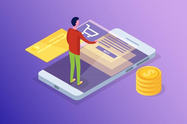 Online-banking und -einkauf, mobiles bezahlen, isometrisches überweisungskonzept. illustration.