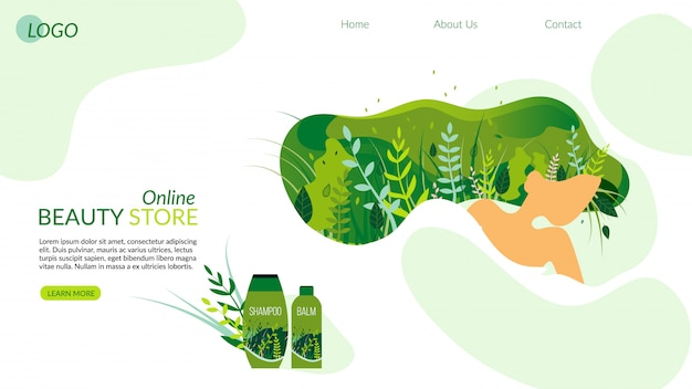Online beauty store mit kosmetik-landing page.