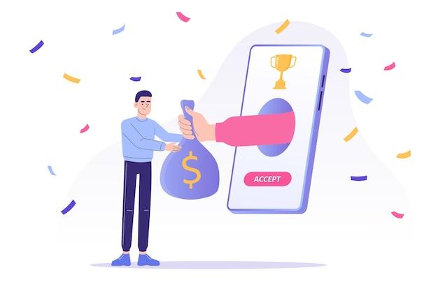 Online-belohnungsprogramm mit mann erhalten einen münzsack von hand knallen vom smartphone-bildschirm