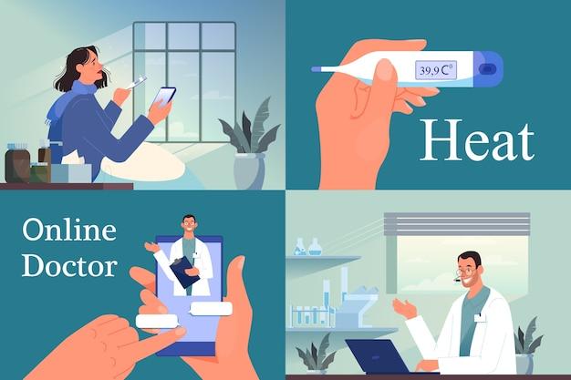 Online-beratung mit männlichem arzt. medizinische fernbehandlung. mobiler dienst. kranke frau mit einer hitze, die mit medizinischem arbeiter auf smartphone plaudert. illustration