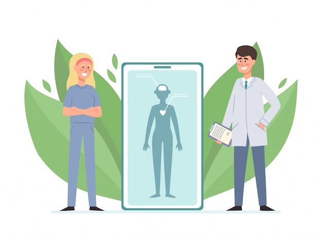 Online-beratungskonzept mit ärztin und patientin auf smartphone isoliert auf weiß. mobiler service und kleine leute mit pflanzenelementen
