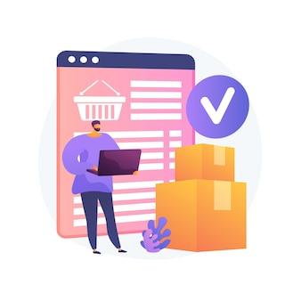 Online-bestelldienst, versand. internet-einkaufskorb, pappkartons, käufer mit laptop. lieferschein auf bildschirm und paket. vektor isolierte konzeptmetapherillustration.