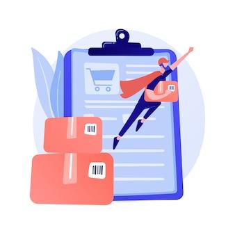 Online-bestelldienst, versand. internet-einkaufskorb, pappkartons, käufer mit laptop. lieferschein auf bildschirm und paket.