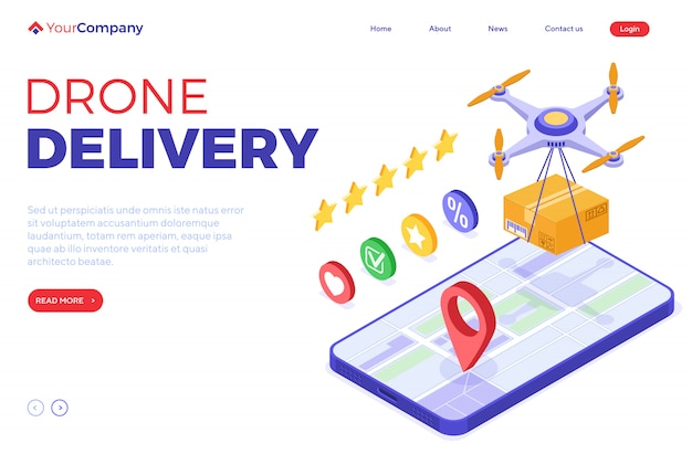 Online-bestellpaket für die lieferung von drohnen