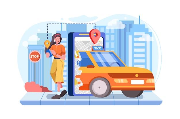 Online-bestellung eines taxikonzepts