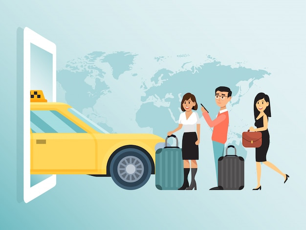 Online-bestellung stadt konzept taxi, paar schöne männliche frau warten öffentlichen transport geschäftsfrau laufen illustration.