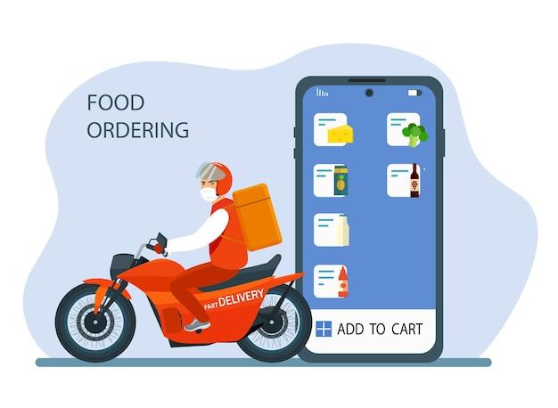 Online-bestellung und lieferung von lebensmitteln. smartphone, app und kurier auf einem motorrad.
