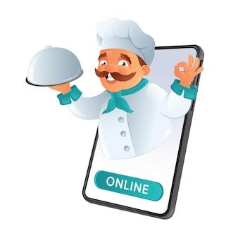 Online-bestellung und lieferung von speisen. schnurrbart-koch des restaurants, der aus dem telefon schaut, das gericht hält und das ok-schild zeigt.