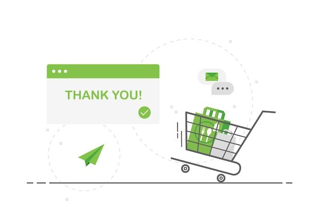 Online-bestellung von lebensmitteln mit einem einkaufswagen und einer tasche in flachem design