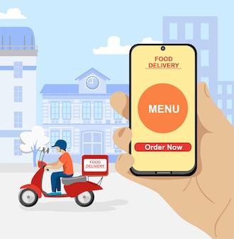 Online-bestellung von lebensmitteln. online-lieferservice mit roller und handy.