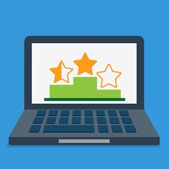 Online-bewertung bewertung top beste liste abstraktes konzept. stern auf podiumsockel auf laptop-bildschirm.