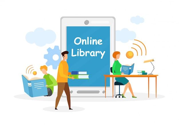 Online-bibliothek, bildung flat web banner template