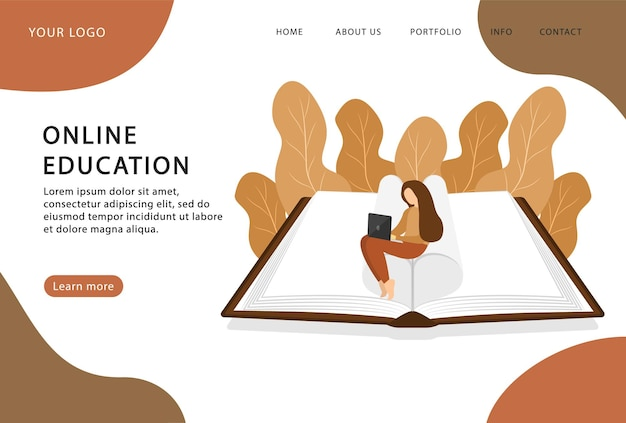Online-bibliothek. buch auf dem laptop lesen. zu hause bleiben. landing page. moderne webseiten für websites.
