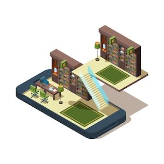 Online-bibliothek. bücher lernen studenten lesen magazin bei smartphone studie e buch isometrisches konzept.