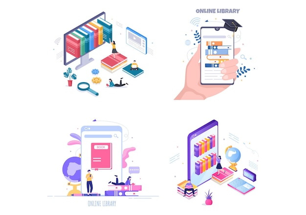 Online-bibliothek digitale bildung hintergrundillustration mit fernunterricht, aufgezeichneten klassen, video-tutorial zum erwerb von wissen