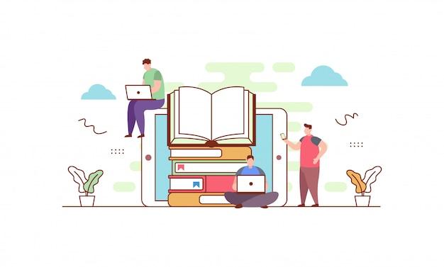 Online-bibliothek im flachen stil