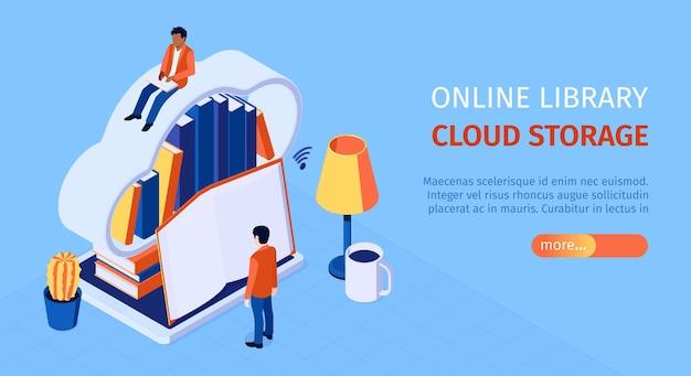 Online-bibliothek isometrische horizontale web-banner-illustration