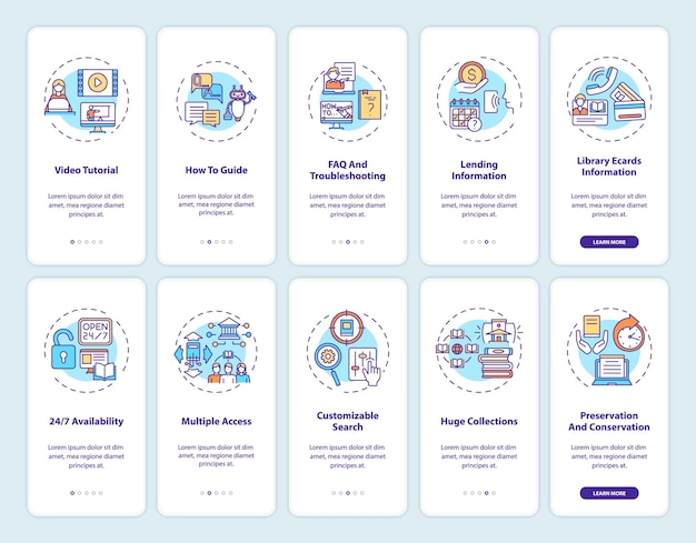 Online-bibliothek onboarding mobile app seitenbildschirm mit konzepten. exemplarische vorgehensweise für arten digitaler bibliotheken 10 schritte grafische anweisungen. ui-vorlage mit rgb-farbabbildungen