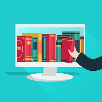 Online-bibliothek. website bücher speichern lernen digitale studie lesen e-book-katalog bildungsdateien internet-shop gerät flaches konzept