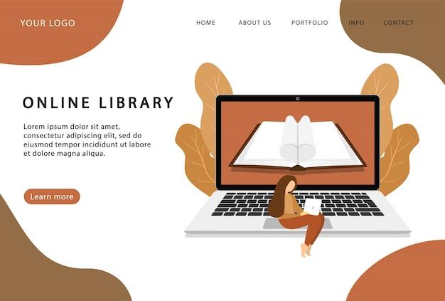 Online-bibliothek zu hause. buch auf laptop lesen. landing page. moderne webseiten für websites.