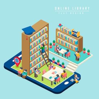 Online-bibliothekskonzept isometrische 3d-infografik mit smartphone, das eine bibliothek zeigt