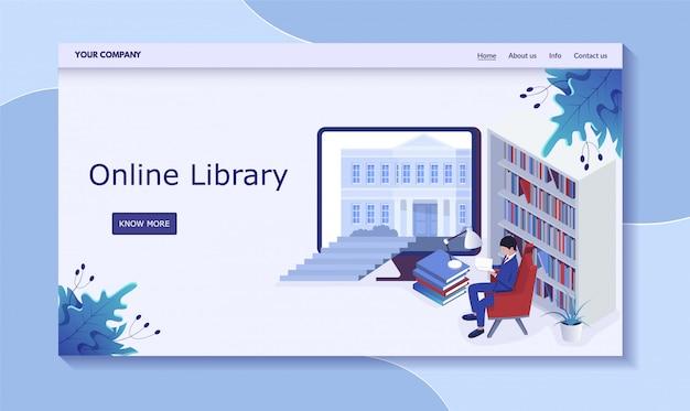 Online-bibliothekskonzept, mann im buchdepot, lesebuch, illustration. kontaktieren sie uns, infos, über uns, nach hause, mehr button.