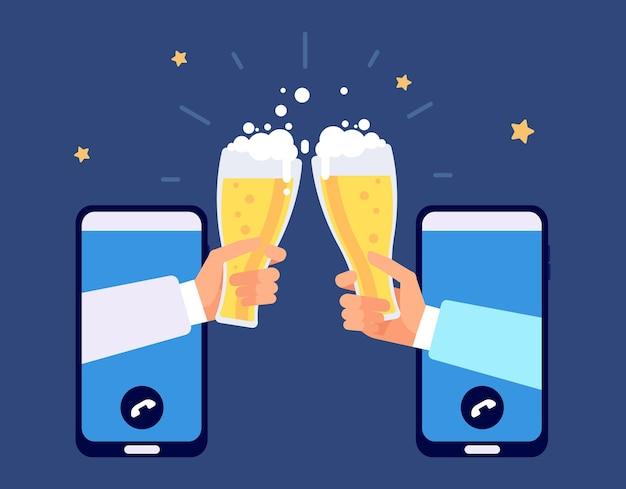 Online-bierparty. internetfreundschaft, freunde trinken per smartphone. telefonparty, e-bar oktoberfest-distanz-festival-vektor-illustration. bierparty online, alkoholisches getränk trinken