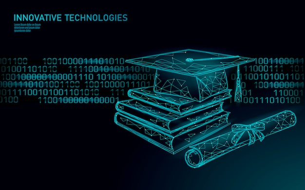 Online-bildung 3d-technologie geschäftskonzept. e-learning-schulungskurse.
