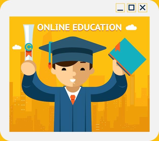 Online-bildung. absolvent in kleid und hut im app-fenster. wissen und web, konzept und e-learning, internet. vektorillustration