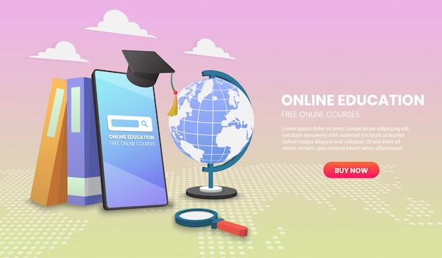 Online-bildung auf handy mit büchern application vector 3d vektor-illustration
