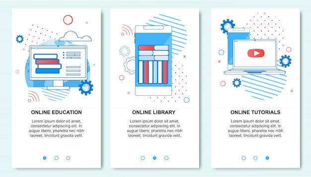 Online-bildung, bibliothek, tutorials service auf dem smartphone