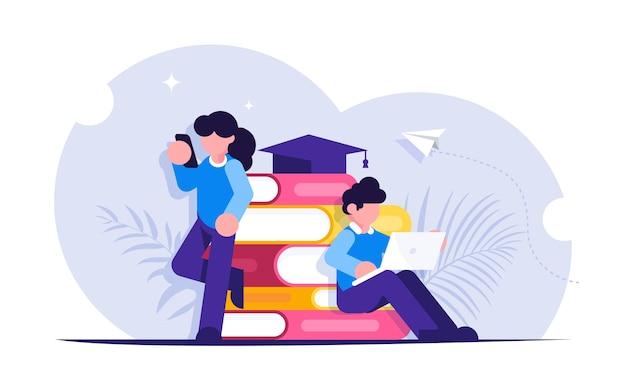 Online-bildung. die schüler sehen den unterricht während des fernunterrichts über mobile geräte