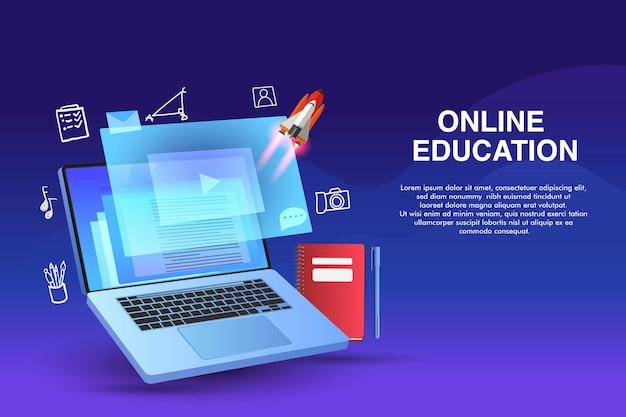 Online-bildung. digitales lernen von zu hause aus