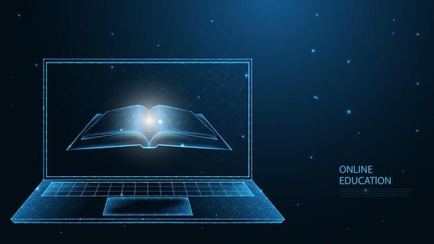 Online-bildung. e-learning. offenes buch mit laptop-leitungsverbindung. low-poly-wireframe-design. abstrakter geometrischer hintergrund. vektor-illustration.